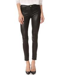 schwarze Leder enge Jeans von Frame