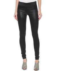 Schwarze Leder Enge Jeans von Gold Sign