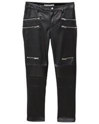 schwarze Leder enge Jeans von Mango