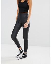 schwarze enge Jeans aus Leder von Missguided