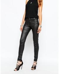 Schwarze Leder Enge Jeans von Noisy May
