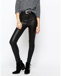 schwarze enge Jeans aus Leder von Only