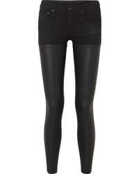 schwarze enge Jeans aus Leder von R13