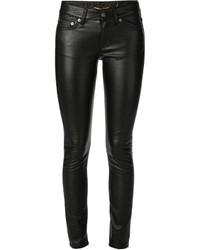 Schwarze Leder Enge Jeans von Saint Laurent