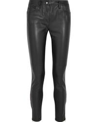 schwarze Leder enge Jeans von Versace