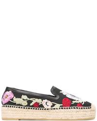 schwarze Leder Espadrilles mit Blumenmuster von Alexander McQueen