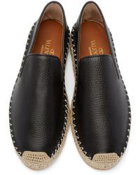 schwarze Leder Espadrilles von Valentino