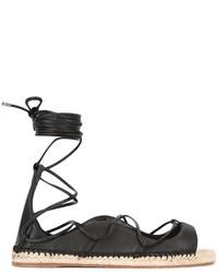 schwarze Leder Espadrilles von Dsquared2