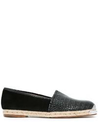 schwarze Leder Espadrilles von Giuseppe Zanotti Design