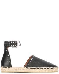 schwarze Leder Espadrilles von Givenchy