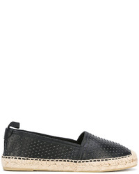 schwarze Leder Espadrilles von Saint Laurent