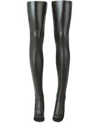 schwarze Leder hohen Socken von Sacai