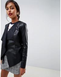 schwarze Leder Jacke mit einer offenen Front von Oasis