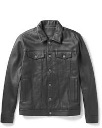 Schwarze Leder Jeansjacke