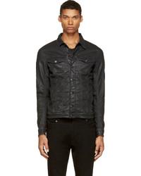 schwarze Leder Jeansjacke von Diesel