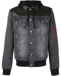 schwarze Leder Jeansjacke von Philipp Plein