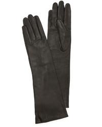 schwarze Leder lange Handschuhe von Carolina Amato