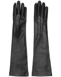 schwarze Leder lange Handschuhe von Jil Sander