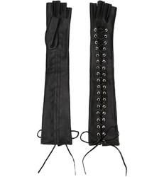 schwarze Leder lange Handschuhe