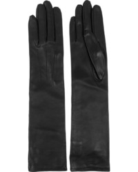 schwarze Leder lange Handschuhe von Lanvin