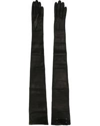 schwarze Leder lange Handschuhe von Maison Margiela