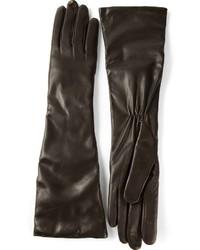 schwarze Leder lange Handschuhe von P.A.R.O.S.H.