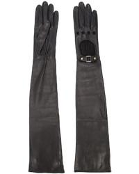 schwarze Leder lange Handschuhe von Perrin Paris