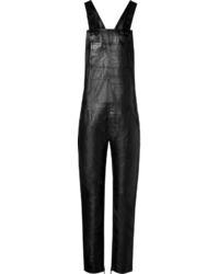schwarze Leder Latzhose