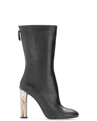 schwarze Leder mittelalte Stiefel von Alexander McQueen