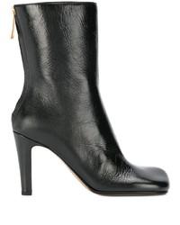 schwarze Leder mittelalte Stiefel von Bottega Veneta