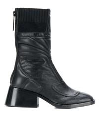 schwarze Leder mittelalte Stiefel von Chloé