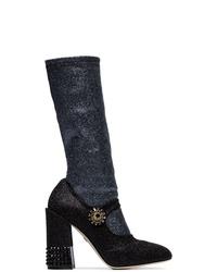 schwarze Leder mittelalte Stiefel von Dolce & Gabbana