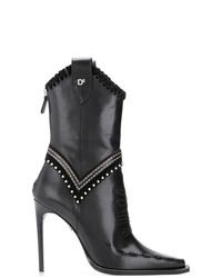 schwarze Leder mittelalte Stiefel von Dsquared2
