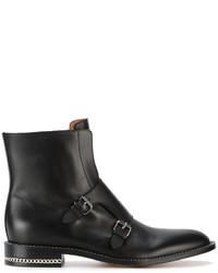 schwarze Leder mittelalte Stiefel von Givenchy