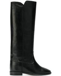 schwarze Leder mittelalte Stiefel von Isabel Marant