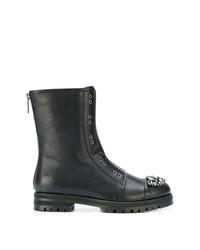 schwarze Leder mittelalte Stiefel von Jimmy Choo