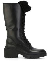 schwarze Leder mittelalte Stiefel von Marc by Marc Jacobs