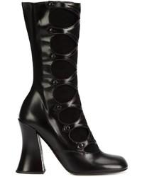 schwarze Leder mittelalte Stiefel von Marc Jacobs