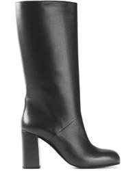 schwarze Leder mittelalte Stiefel von Marni