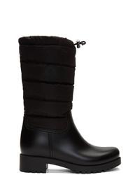 schwarze Leder mittelalte Stiefel von Moncler