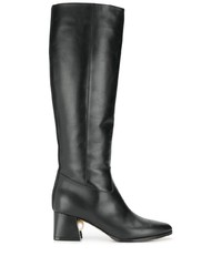 schwarze Leder mittelalte Stiefel von Nicholas Kirkwood