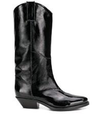 schwarze Leder mittelalte Stiefel von P.A.R.O.S.H.