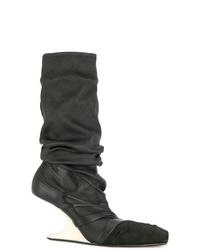 schwarze Leder mittelalte Stiefel von Rick Owens