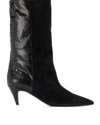schwarze Leder mittelalte Stiefel von Saint Laurent