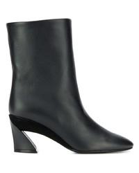 schwarze Leder mittelalte Stiefel von Salvatore Ferragamo