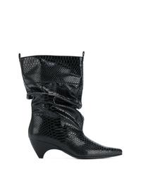 schwarze Leder mittelalte Stiefel von Stella McCartney