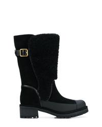 schwarze Leder mittelalte Stiefel von Tory Burch