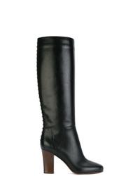schwarze Leder mittelalte Stiefel von Valentino