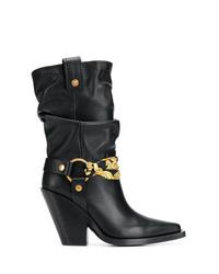 schwarze Leder mittelalte Stiefel von Versace