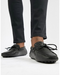 schwarze Leder Mokassins von Pier One